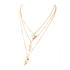 Three-strand Necklace with Triangle, Leaf and Pearl