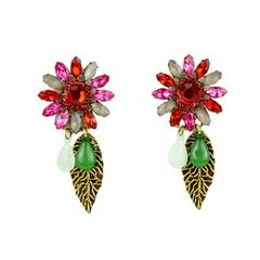 Pair of Retro Style Women's Gemstone Embellished Earrings