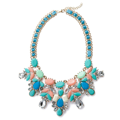 Elegant Faux Gemstone Embellished Women's Necklace blue+pink One size