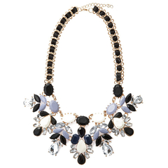 Elegant Faux Gemstone Embellished Women's Necklace black+white One size