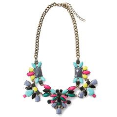 Bardian Faux Gemstone Embellished Necklace blue+pink One size