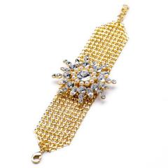 Exquisite Women's Gemstone Embellished Flower Shape Bracelet