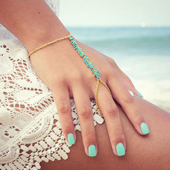 Chic Beads Decorated Bracelet With Ring
