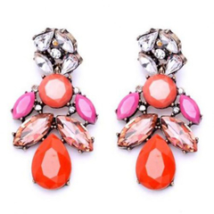 Pair of Graceful Faux Gem Decorated Water Drop Shape Earrings