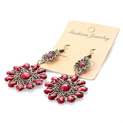 Pair of Bohemian Floral Shape Rhinestone Pendant Earrings for Ladies Red One size