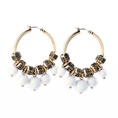 Fashion Cluster Style Round Diamond Ladies Pearl Pendant Earrings
