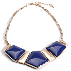 Stylish Candy Color Spliced Necklace Sapphire Blue One size