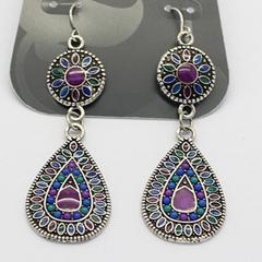 Pair of Bohemian Glazing Water Drop Pendant Earrings