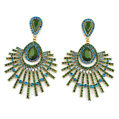 Pair of Gorgeous Rhinestone Gem Openwork Earrings Green One size