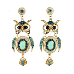 Pair of Chic Colorful Faux Gem Decorated Owl Pattern Drop Earrings Green One size