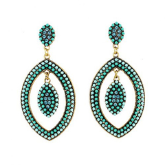 Pair of Chic Colorful Double-Layer Oval Drop Earrings