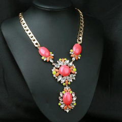 Vintage Red Waterdrop Shaped Faux Gem Decorated Flower Pendant Necklace