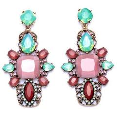 Pair of Retro Rhinestone Floral Earrings