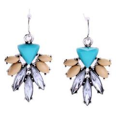 Pair of Cute Blossom Shape Rhinestone Decorated Earrings