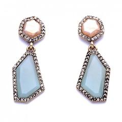 Pair of Chic Faux Gem Irregular Geometric Shape Design Earrings