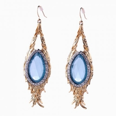 Pair of Stylish Faux Blue Gem Decorated Waterdrop Earrings