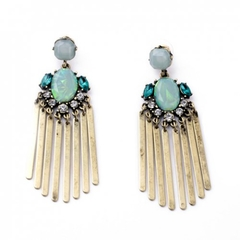 Pair of Delicate Faux Gem Rhinestone Tassel Earrings