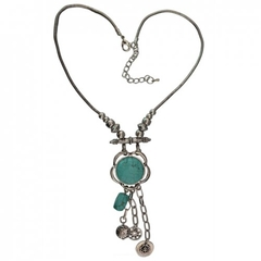 Fashionable Turquoise Decorated Coin Shape Floral Necklace