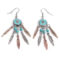 Pair of Retro Feather Turquoise Earrings
