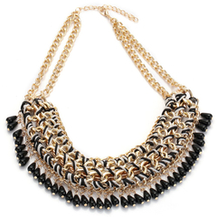 Retro Crystal Water Droplet Weave Necklace Black One size