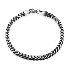 Figure Pattern Figaro Chain Bracelet for Man Silver One size