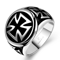 Cool Fashion Cross Ring for Men Silver 8