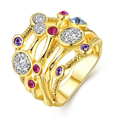 Romantic Multi-colored 18K Gold Plated Ring Golden 7