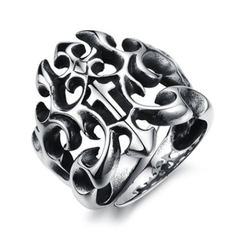 Stylish Solid Color Openwork Ring For Men ONE SIZE Silver 10