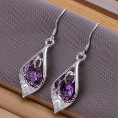 Pair Of Women's Purple Stone Shell Earrings purple One size