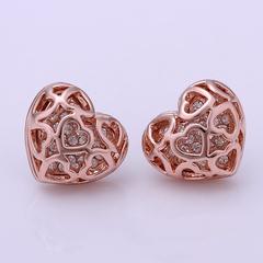 Pair Of Women's Temperament Hollow Out Heart Shape Earrings