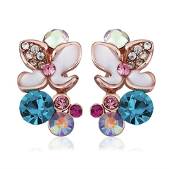 Pair Of Women's Elegant Colorful Flowers Stud Earrings Colorful One size