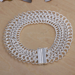 Cool Design Multi-layed Chain Bracelet For Women Silver One size