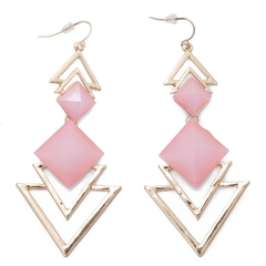 Pair of Chic Style Square Faux Gem Design Triangle Drop Women's Earrings Pink One size