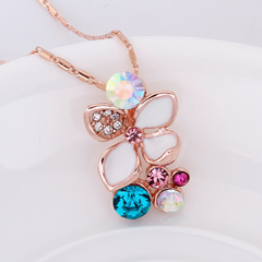 Stylish Rhinestoned Colorful Butterfly Rose Gold Plating Necklace