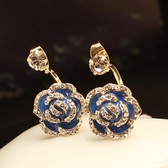 Pair of Fashion Diamante Rose Pattern Stud Earrings As the picture One size