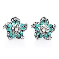Pair of Luxury Faux Gem Flower Earrings For Women