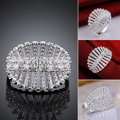 Fresh Style Leaf Shape Solid Color Hollow Out Ring White 7