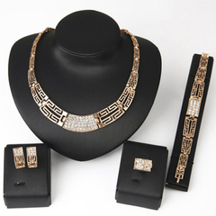 Chic Rhinestone Hollow Out Necklace Bracelet Ring and A Pair of Earrings Golden One size