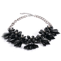 Stylish Crystal Flowers Cluster Chunky Choker Party Jewelry for Lady Black One size