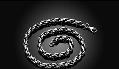 Titanium Fashion Chain 316L Stainless Steel Vintage Pendant Necklace Silver One size