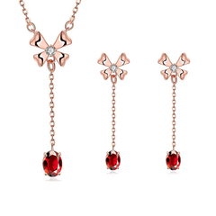 18K Alloy Anti Allergy Zircon Necklace Earrings Jewelry Set Rose Gold One size