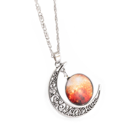 Fashionable Galaxy Necklace Hollow Out Crescent with Carving Orange+white One size