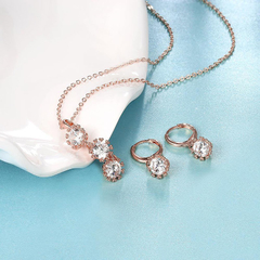 18K Environmental Alloy Anti Allergy Zircon Necklace Earrings Jewelry Set Rose Gold One size