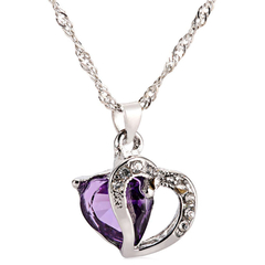 Double Heart Rhinestone Embellished Necklace for Women Purple One size