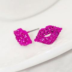 Pair of Chic Rhinestone Embellished Sexy Lip Pattern Earrings Rose Red One size