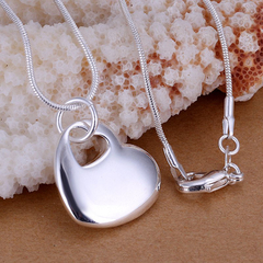 Trendy Heart Pendant Necklace Silver One size