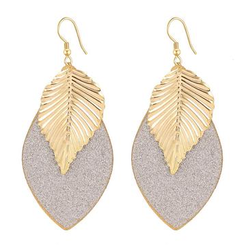 Leaf Oval Earrings Golden One size