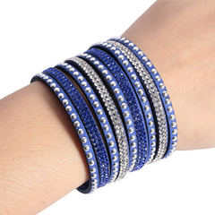 Unisex Stylish Multilayer Diamond Artificial Leather Bracelet Deep Blue 25cm / 9.83 inch