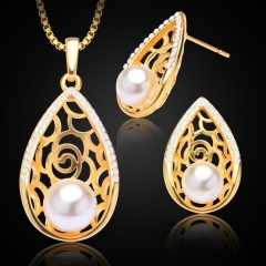 Water Drop Simulated Pearl Rhinestone Hollow 18K Gold Plated Necklace Earring Jewelry Sets Golden One size