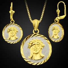 Round Jesus Figure 18K Gold Plated Necklace+ Earring Golden One size